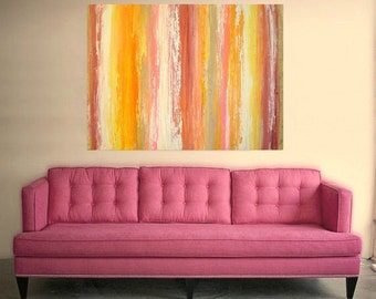 "Large Acrylic Abstract Painting on Canvas Fine Art Original Titled: Wild Rose 36x48x1.5"" by Ora Birenbaum"