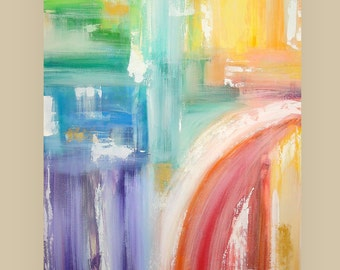 "Abstract Painting Original Art on Gallery Canvas Titled: Moving Colour 30x40x1.5"" by Ora Birenbaum"