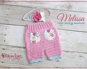 Newborn Shorts Set - Shabby Rose ~ Photo Prop - Baby Girl