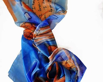 Hand painted silk scarf  Blue and brown silk scarf  Hand painted woman scarf Painted silk Autumn  accessory Woman scarf painted by GABYGA