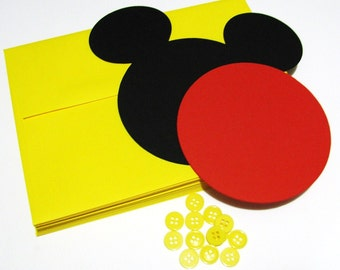 "Mickey DIY Invitation Kit w/envelopes- Mickey head with shorts: 15 pack- 5"" Mickey Mouse ear die cuts (BLACK) w/ 8 circles (RED) & buttons"