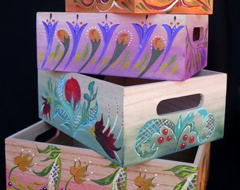 NESTING FOLK BOXES, Original Hand Painted Boxes In The Kellinghusen Style