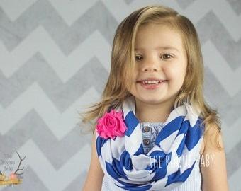 Chevron Infinity Scarf. Dark Blue / Navy White Hot Pink. Toddler Child Flower Girl Rustic Hipster