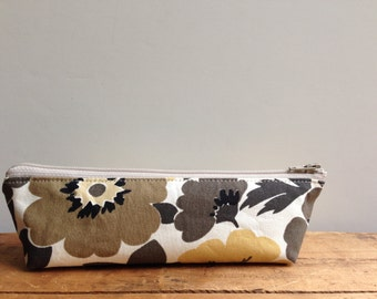 Pencil Case, Brown Yellow Floral Triangle Pencil Pouch, Small Zipper Pouch, Back to School