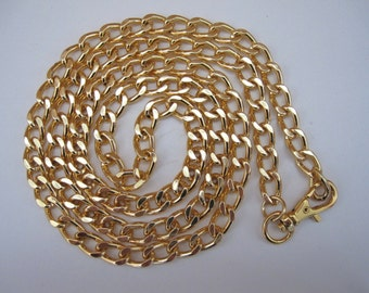 "Curb Chain Vintage Chunky Gold Flat Curb Fashion Chain 13mm by 8mm 37 3/4"" inch Length with a Gold Swivel Clasp Belt Chain by BySupply"