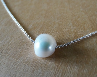 Floating Pearl Necklace - Sterling Silver