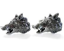 Wild Boar Head Pendant Cufflinks