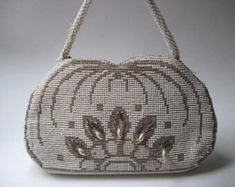 Vintage Beaded Handbag and Mirror Czechoslovakia