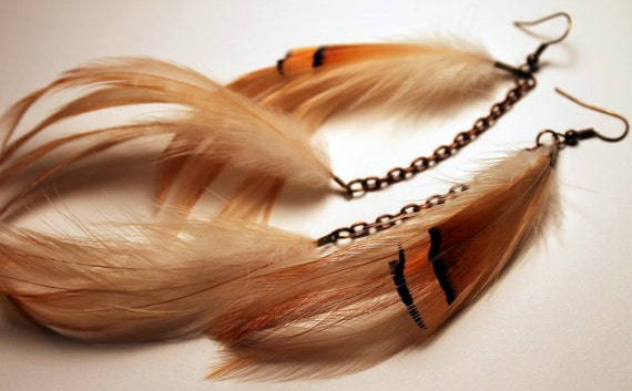 Soft Chinchilla-Chain-Feather Earrings