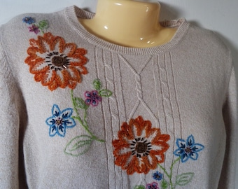 Cable Knit Womens Oatmeal Tan Size Petite Large Embroidered Beaded Flowers LS Sweater Alfred Dunner