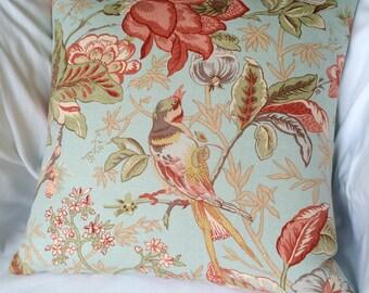 Blue Bird and Flower Pillow Cover, 18 x 18, Designer 100% linen throw pillows