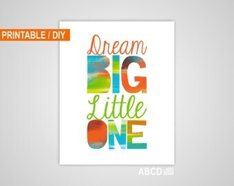 Boy Lime, Aqua, Orange and Brown, Digital Abstract Nursery quote print Dream big Little One, 8x10,  Printable, DIY,  INSTANT DOWNLOA
