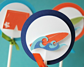 Surfing Birthday Party Cupcake Toppers - Surf's Up Party (set of 12)