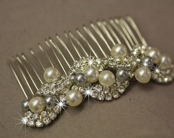 Bridal Comb- Swarovski crystal and and pearl bridal hair comb, Grey Pearls, Silver Pearls, Vintage Hair Comb, Hair accessory