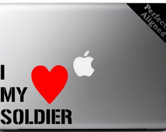 I Heart My Soldier - White Text with a Red Heart - Army Spouse Macbook/Laptop Decal - Army Wife - Laptop Decal