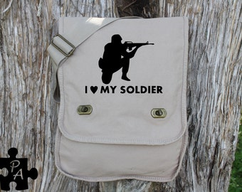 I Heart My Soldier - Army Support - Military Style Canvas Messenger Bag - Laptop Bag - iPad Bag - Diaper Bag - School Bag