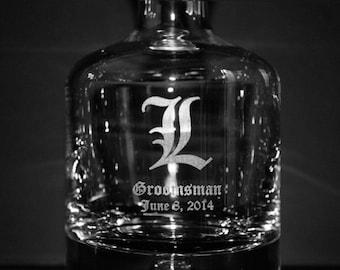 Monogrammed Crystal Whiskey Decanter  - Groomsmen Gift Ideas