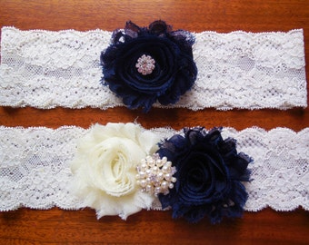 Blue Garter, Wedding garter , Garter Set , Ivory lace garter , Keepsake garter, Toss garter, Navy Blue Garter, Something Blue , Garter