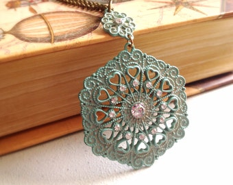 Filigree Patina Pendant. Pale Green. Vintage Style. Brass Chain. You Choose. Under 20. Patina Pendant. Hearts. Gifts for Her. Crystals.