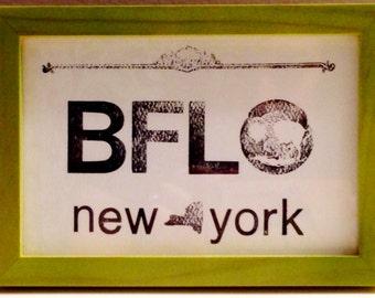 Framed Letterpress Buffalo NY Print