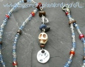 Pagan elements beaded necklace. Earth air water fire spirit. Blue red brown bright. Lapis Rock quartz Tiger's eye skull. Boho hippie magical