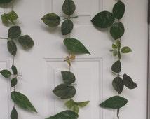 Upcycled Leaves Garland Doorway Curtain - Green Leaves- Handmade Leave Backdrop - Wedding Graduation Birthday - Handmade Green Recycled