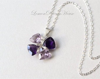 February Birthstone. Gemstone Lucky Clover Necklace, Amethyst Trillion Cut Beads, Sterling Silver Chain and Wire Wrapped. Gift. N210.