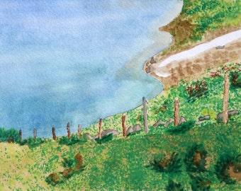 Switzerland Lake Original Watercolor Painting by Theresa Smith 8x10