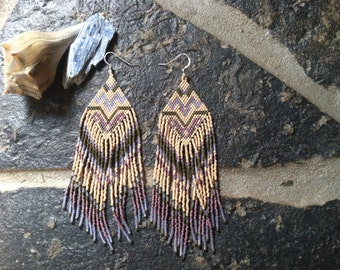 "The "" inner garden "" earrings ... Native style, tribal, boho, seed beads"