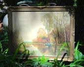 Vintage Framed Art, 30 x 23 Gesso Frame, Antique Frame, Ornate Gold Frame, Color Craft Painting #1384, Embossed Frame, Vintage Oil Painting