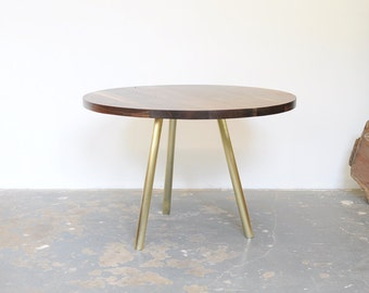 Dining Table - Seats 4-5  Round Black Walnut with Brass Base
