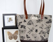 Linen Day bag screen-printed with butterflies, moths and bugs