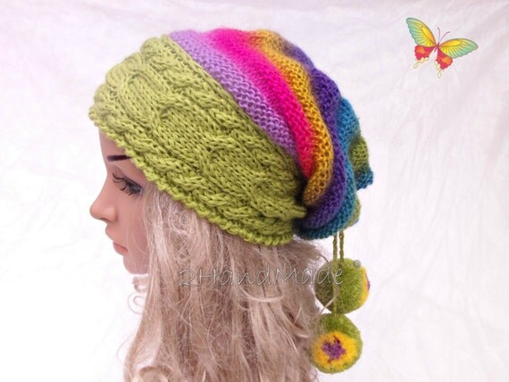 Oversized Beret Knitting Pattern : Cable Knit Oversized Beret Neck Warmer Slouchy Mohair Wool Hat Beanie 2017-...
