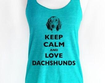 Keep Calm and Love Dachshunds Soft Tri-Blend Racerback Tank