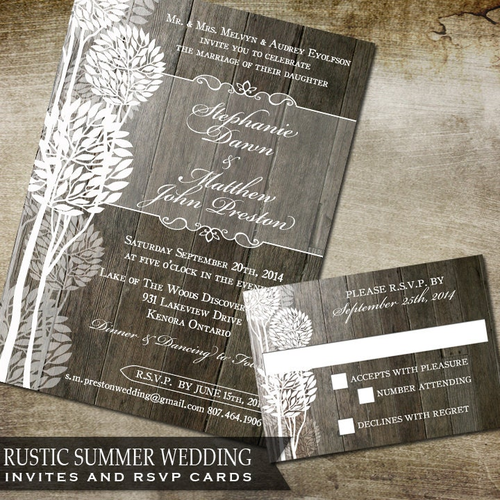 Rustic Summer Wedding Trees Rustic Floral Invite And Rsvp