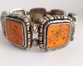 Vintage Tiny Pressed Flowers Stretchable Bracelet