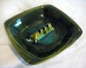 SALE** Vintage Retro California USA Drip Glaze Green Blue Pottery Ashtray