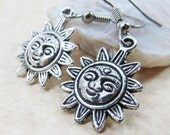 Dangle Drop Earrings - Silver Pewter Metal Smiling Sun Charms - Surgical Steel Ear Hooks - Optional Crystal Link (H-62)