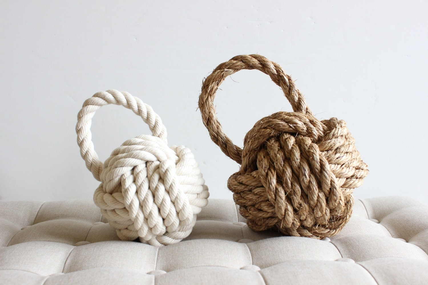 Door stop rope knot with handle cotton or manila by perchshop - Knot door stopper ...