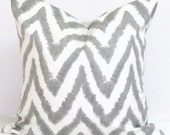 GRAY CHEVRON PILLOW.18X18 inch Decorative Pillow Cover.Housewares.Home Decor.Gray Chevron Pillow.Gray Zig.Grey and Yellow Pillow Covers