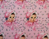 Vintage Pink Baby Girl Gift Wrap - 2 Sheets in Original Package