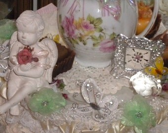 SALE....OOAK Whimsical Cherub/Angel Vignette, Shabby Chic, French Country, Wedding, Cherub,Victorian, Wire brush trees, Christmas ttree