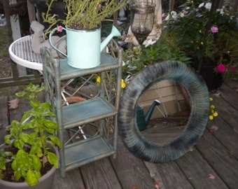 Wicker Up cycled  2 Piece Mirror and Scolly shelf,  bathroom decor, bedroom decor,french county,Eclectic,Paris Apartment Modern
