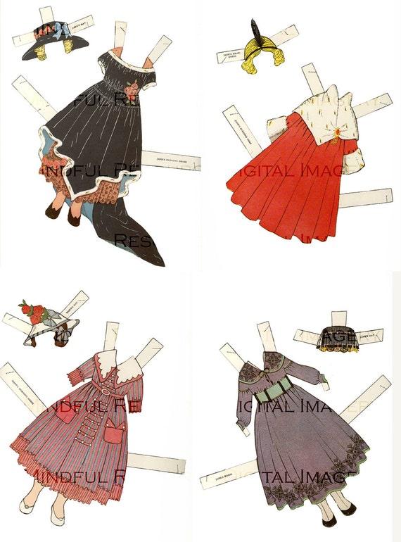 Art Deco Children Paper Dolls Vintage 7 Dolls W 24