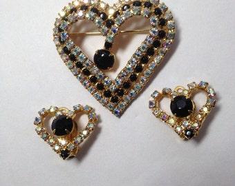 Heart Demi Parure   Brooch/Earrings   Item No: 16735