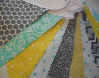 Fabric Banner, Bunting Banner, Wedding Banner, Birthday Banner, Nursery Decor, Baby Shower, Wedding, Yellow, Grey, Gray, Aqua, Ready to Ship