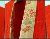 Red Furisode - Japanese Vintage Kimono Long Sleeve Robe