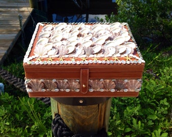 Lovely SHELL Encrusted KEEPSAKE or  JEWELRY Box