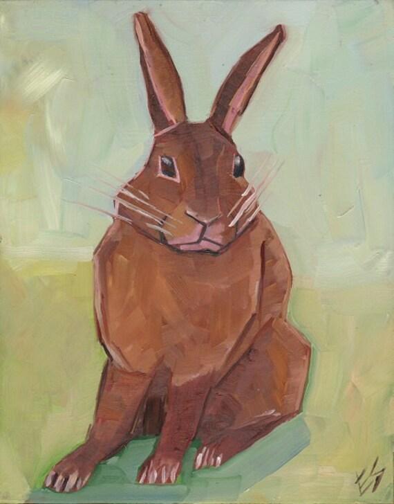 Brown Rabbit Original Oil Painting