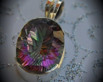 Genuine Solid Sterling Silver Faceted Mystic Rainbow Quartz Pendant Oval